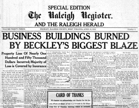 Beckley, West Virginia, Fire of 1912